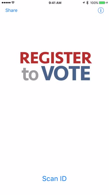 Register To Vote By Just Waiving Your ID Across The Screen
