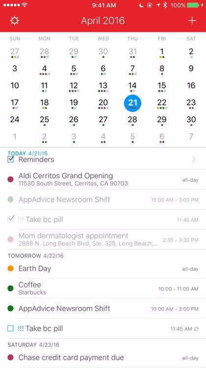 Your calendar at-a-glance