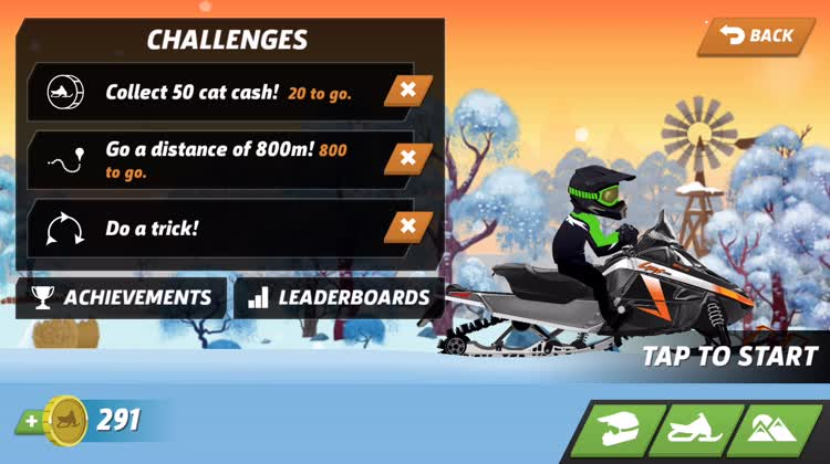 Get skins and upgrade snowmobiles