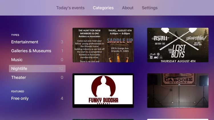 Browse events by category or today