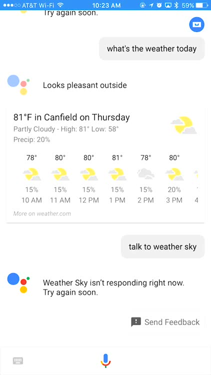 You Can't Talk to Weather Sky, but You Can Still Get the Weather