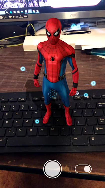 Check out Spidey's suit with the AR Explorer