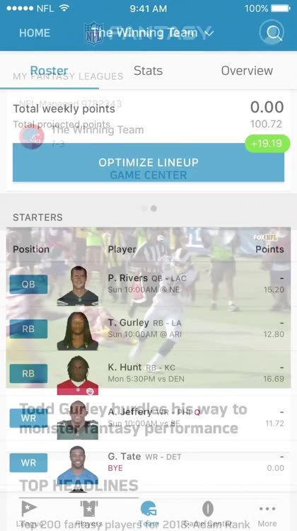 how to change lineup on nfl fantasy football app