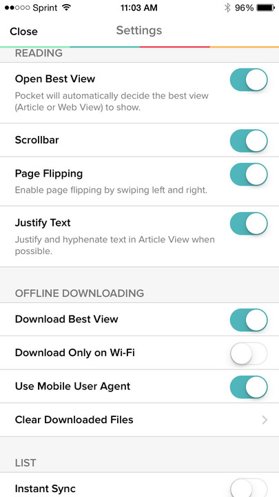 Settings within Pocket