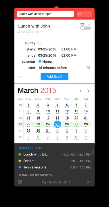 Fantastical 2 for Mac's menubar app window.