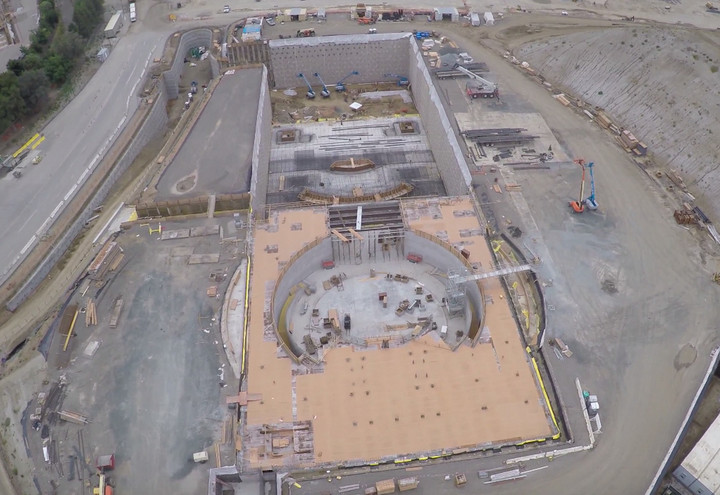 A low-flying drone gave us the first look at construction of the new auditorium