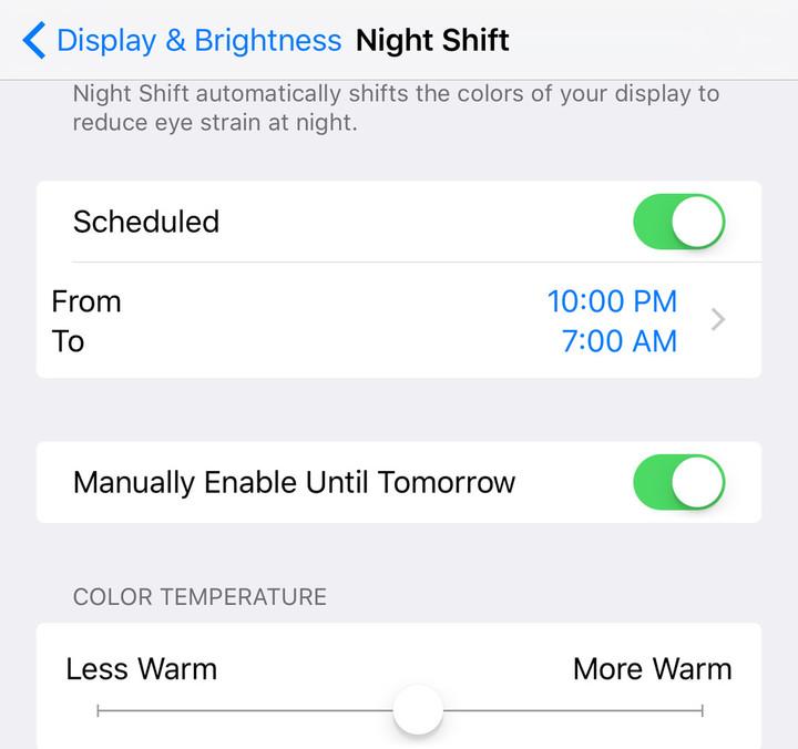 The Night Shift mode settings.