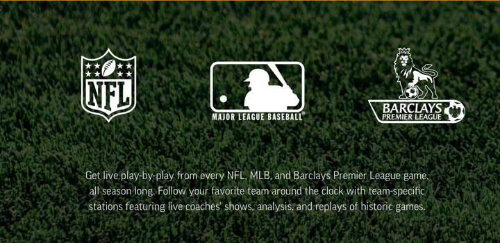Premium subscribers can listen to coverage from a number of different sports leagues.
