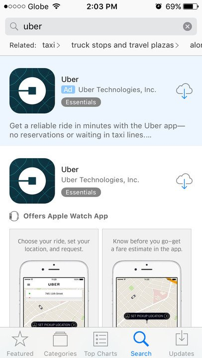 App Store search ad Uber