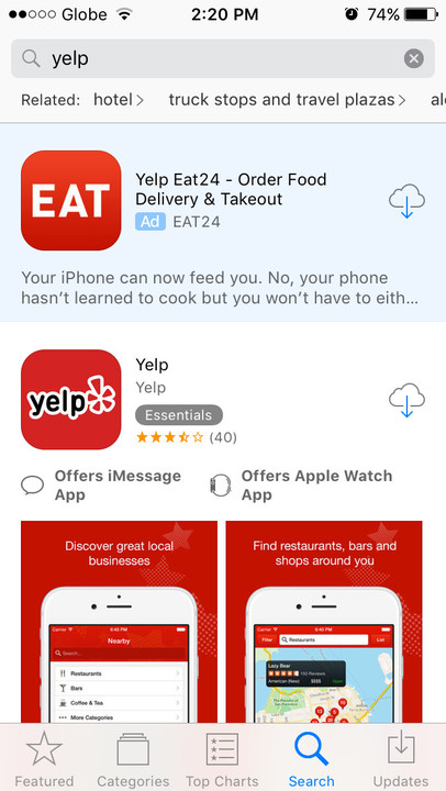 App Store search ad Eat24