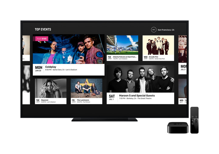 On the Apple TV, the app features big and bright images and other information.