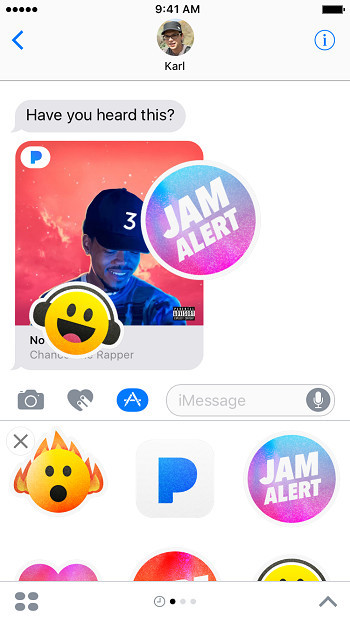 And yes, the Pandora iMessage app even has stickers.