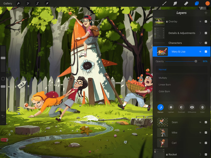Procreate for iPad Layer Grouping