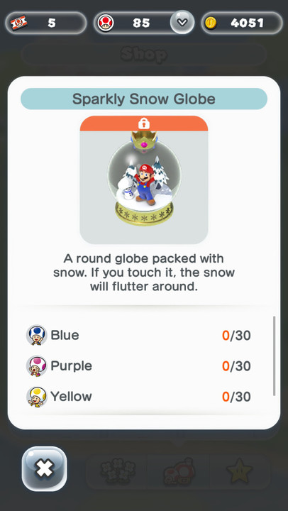 Super Mario Run Friendly Run snow globe