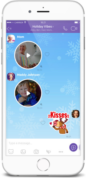 Viber instant video messages send