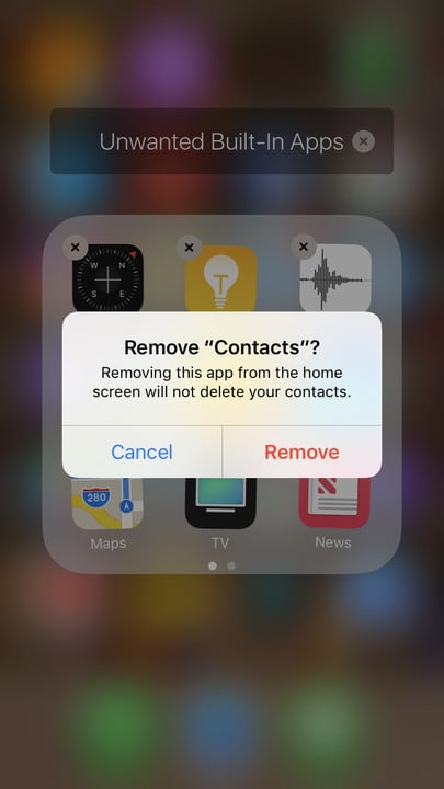 Remove built-in apps confirmation message