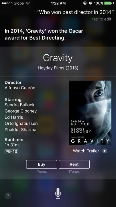 Siri movie Easter eggs best director Gravity