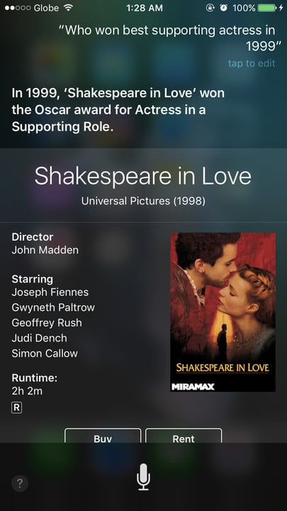 Siri movie Easter eggs best supporting actress Shakespeare in Love