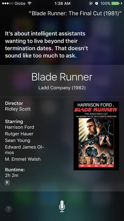 Siri movie Easter eggs Blade Runner