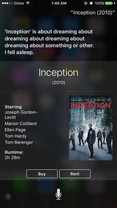 Siri movie Easter eggs Inception
