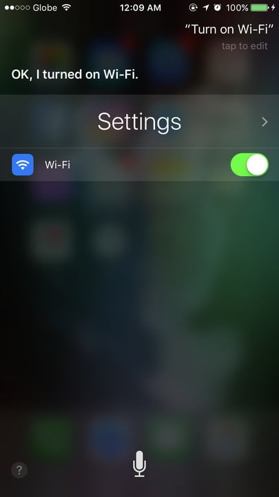 Siri change settings Wi-FI
