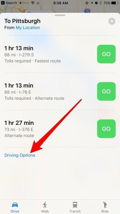 Avoid toll roads in iOS Maps