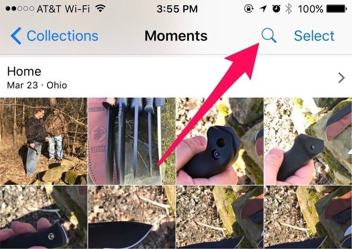 There's a search button you might have missed in iOS Photos