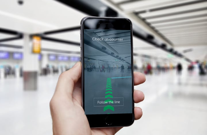 Using Gatwick's upcoming augmented reality navigation, finding your way to your gate will be as easy as following the arrows.