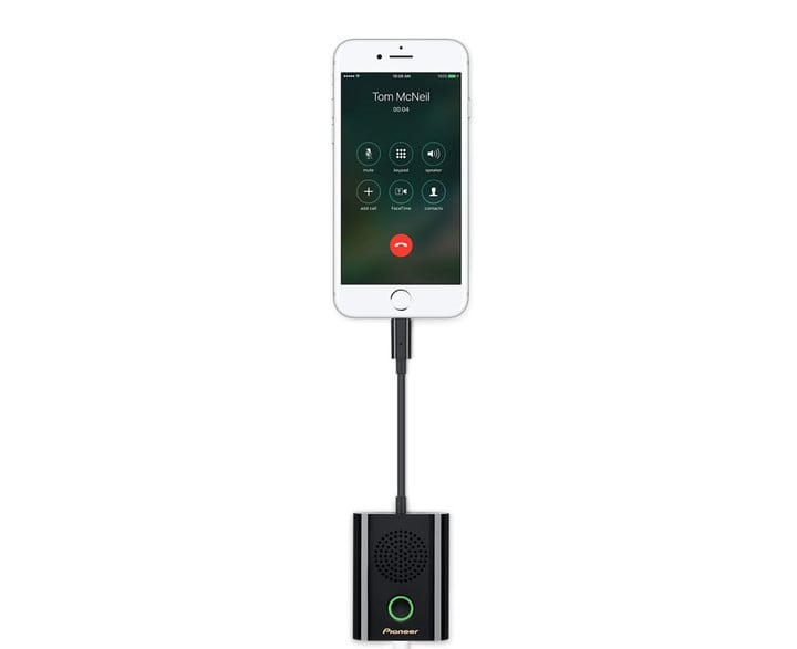 While using the speakerphone, thanks to a pass through feature, users can also charge their iPhone.