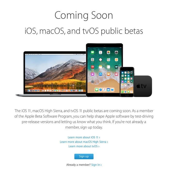 Along with the latest version of iOS, members of the program can also download a pre-release version of macOS High Sierra and tvOS 11.