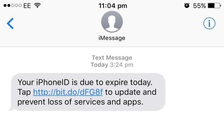 The phishing message.