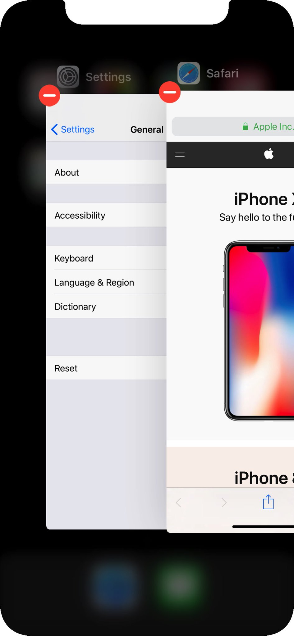 iphone x how to close apps
