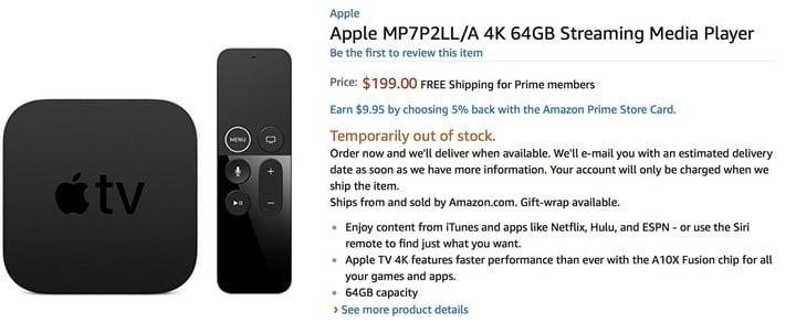 Amazon Adds Apple TV 4K Listing, Video App Launch Appears Near