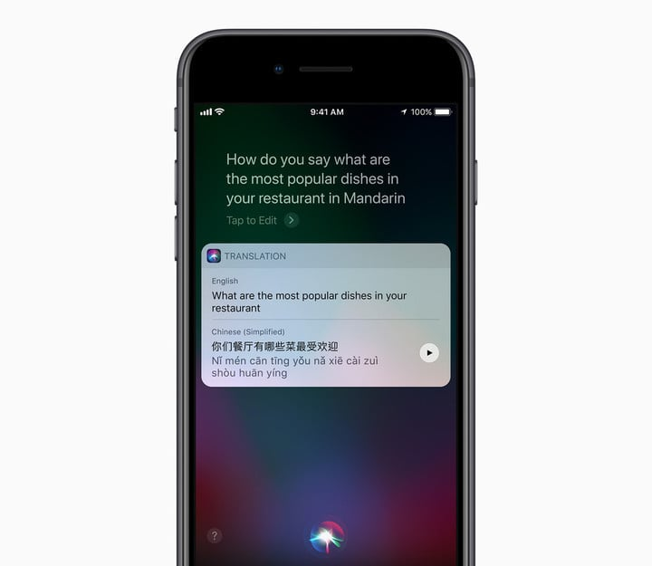 Siri can now translate US English into Mandarin, French, German, Italian, or Spanish.
