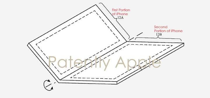 An image from a 2016 Apple patent detailing a foldable iPhone screen.