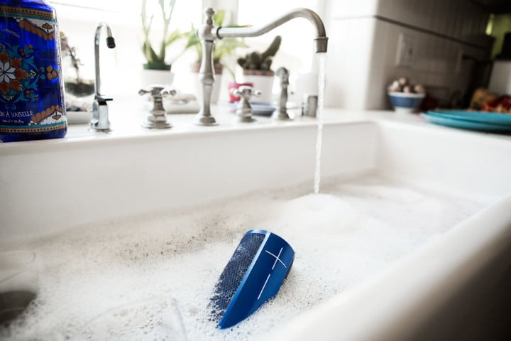 The speakers are waterproof in up to 1 meter of water for 30 minutes.
