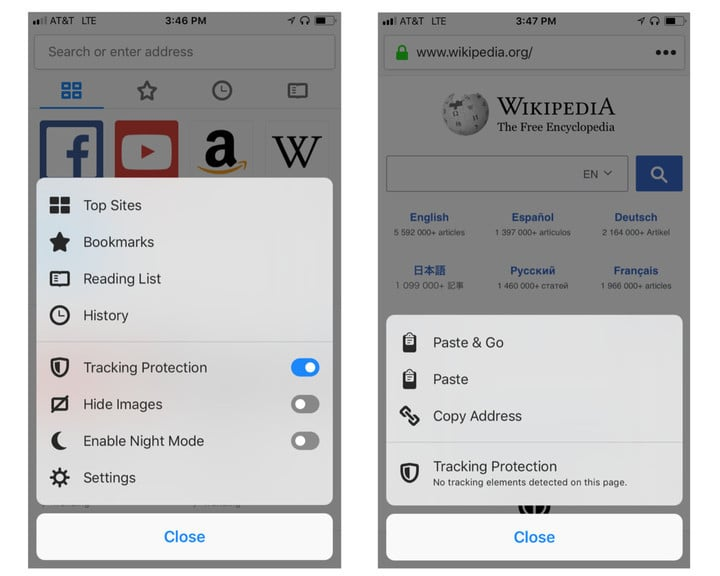 Tracking Protection is automatically turned on in regular and private browsing mode,